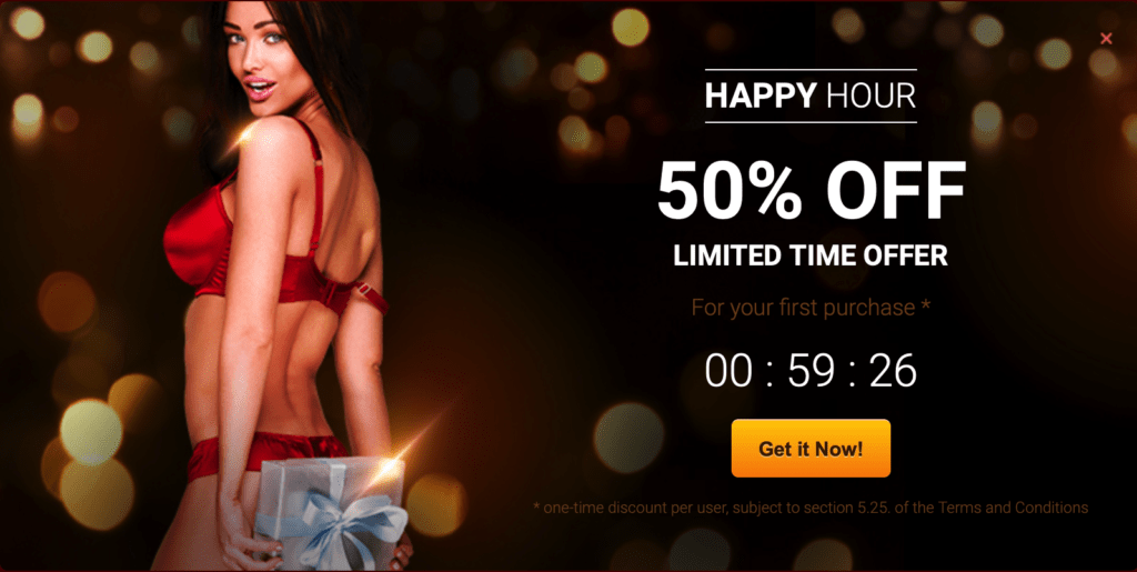 livejasmin happy hour 50% offer