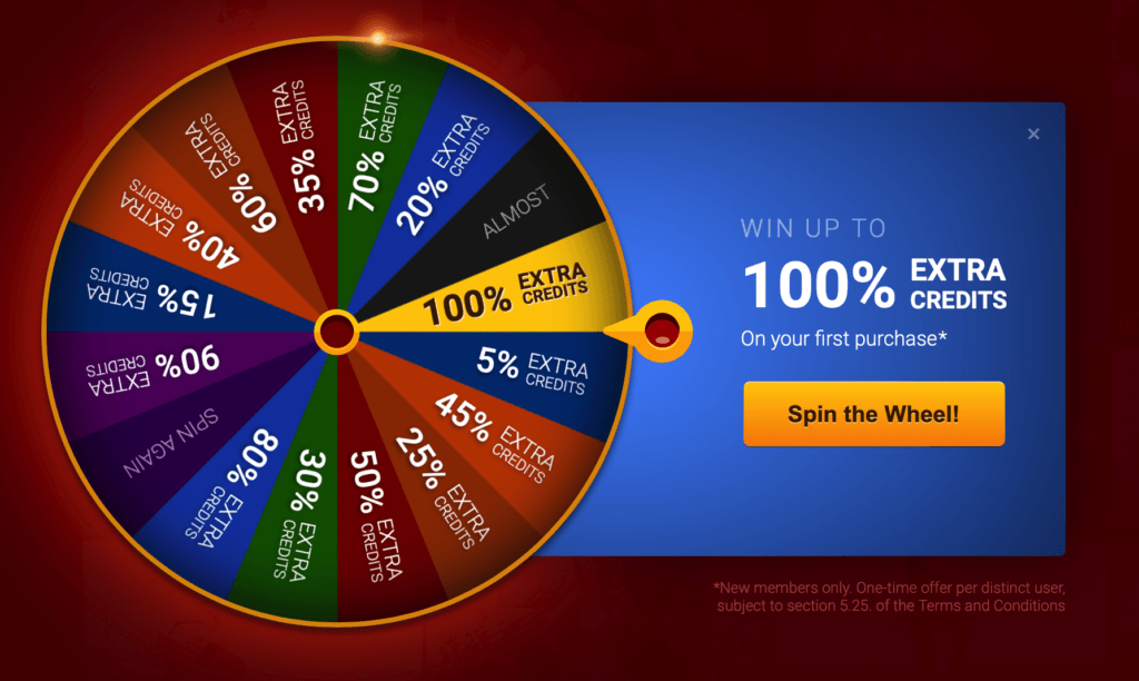 Spion the lucky wheel and get the bonus
