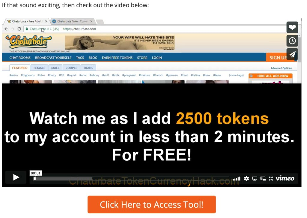chaturbate token generator tool that add 2500 tokens allegedly