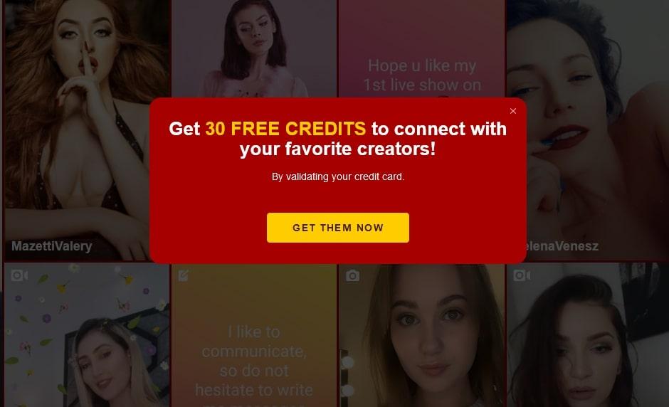 30 free credits upon creditcard validation on Bimbim