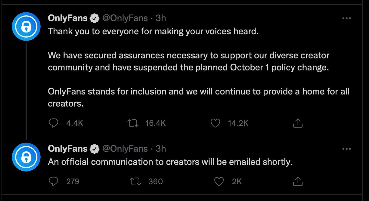 Onlyfans wont ban explicit content official tweet