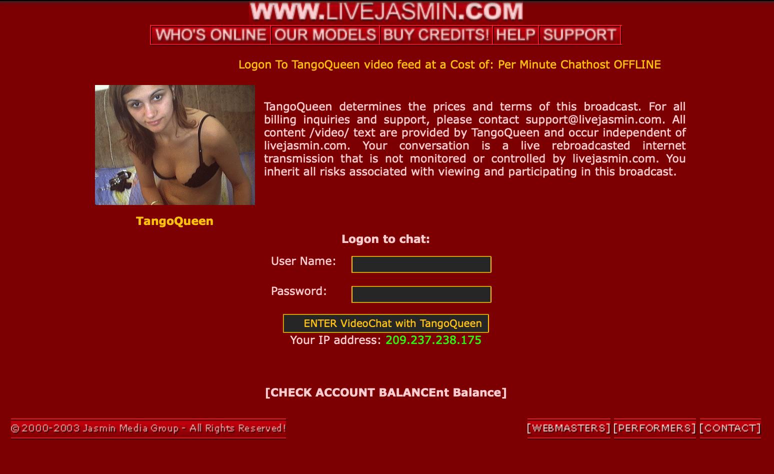 Old version of livejasmin 2003 models page