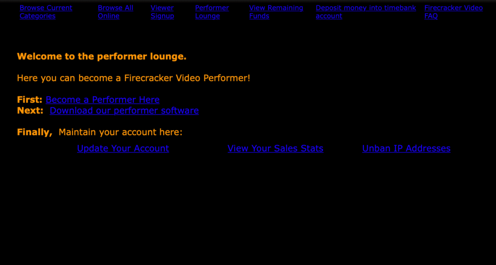 Performer lounge in the old version of livejasmin 2002